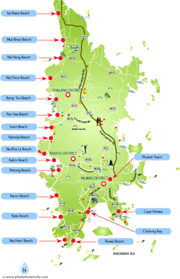 phuket beach map